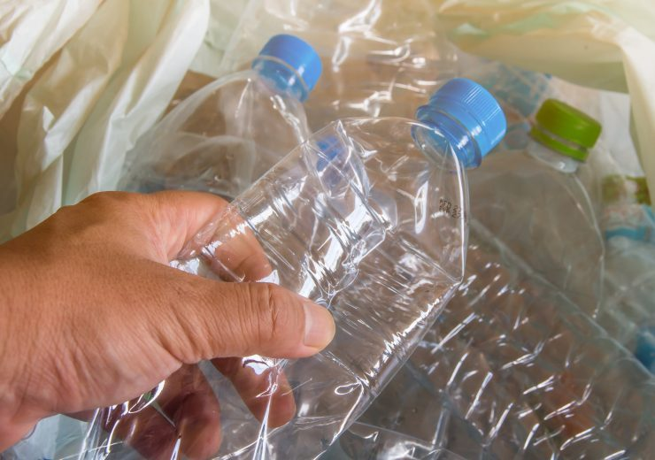 plastic bottle with caps for recycle waste,lot of water bottle w