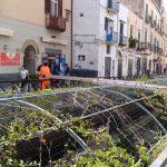 lavori di pulizia ai vasi presso Corso Reginna e villa comunale con irrigazione dei vasi