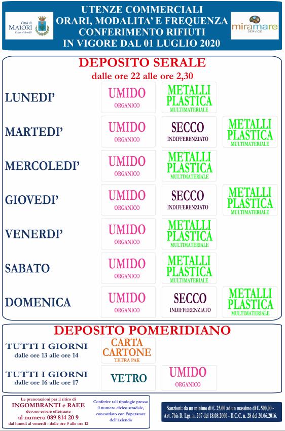 Calendario rifiuti Maiori 2020 - Utenze commerciali