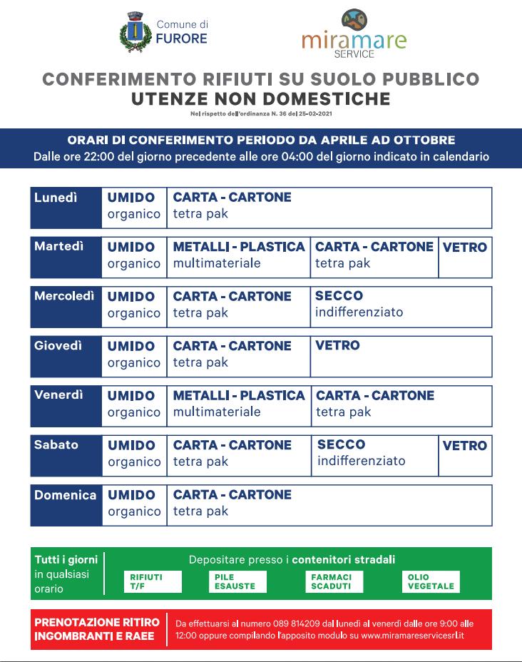 Calendario rifiuti Furore utenze commerciali - estivo